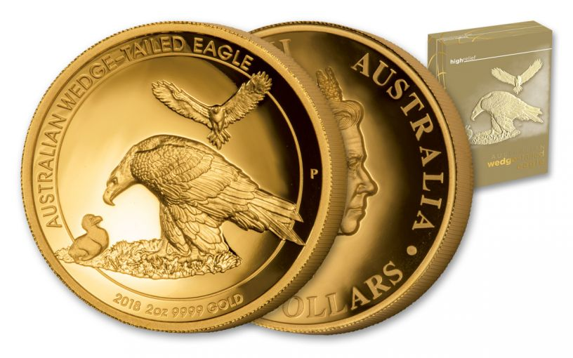 2018 Australia 2 Ounce $200 Gold Wedge Tailed Eagle High Relief Proof