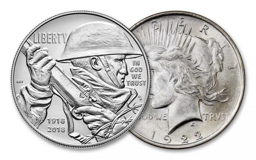 2018 1 Dollar Silver World War I Centennial BU and 1922-P Peace Dollar BU 2pc Set