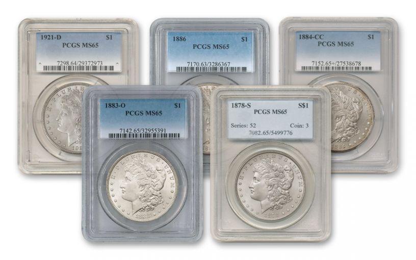 1878-1921 Morgan Silver Dollar PCGS/NGC MS65 5pc Set