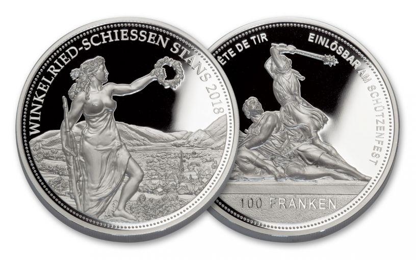 2018 Switzerland 100 Francs 5-oz Silver Shooting Festival Thaler Proof