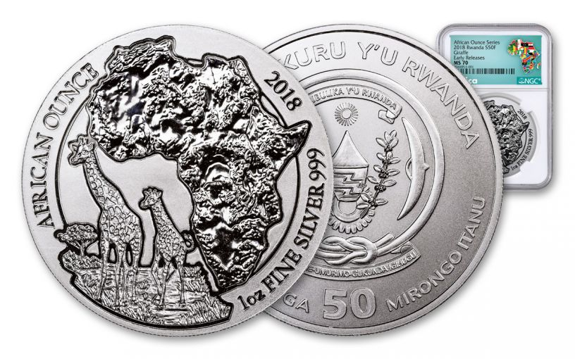 2018 Rwanda 1-oz Silver African Giraffes NGC MS70 Early Releases
