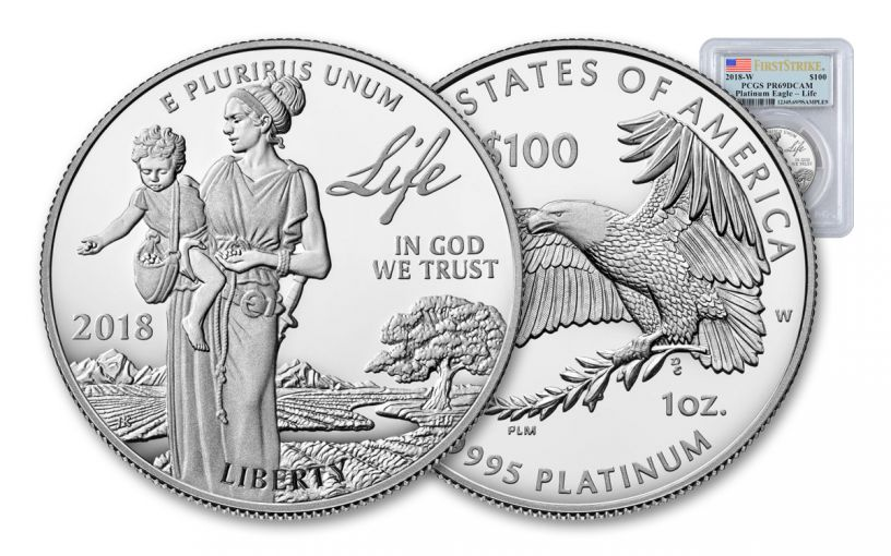 2018-W 100 Dollar 1-oz Platinum Eagle PCGS PR69DCAM First Strike Flag Label