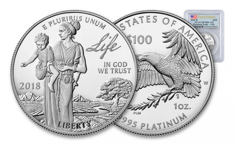 2018-W 100 Dollar 1-oz Platinum Eagle PCGS PR70DCAM First Strike Flag Label
