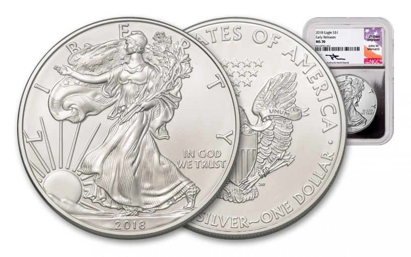 2018 1 Dollar 1-oz Silver Eagle NGC MS70 Early Releases Mercanti Signed - Silver Foil