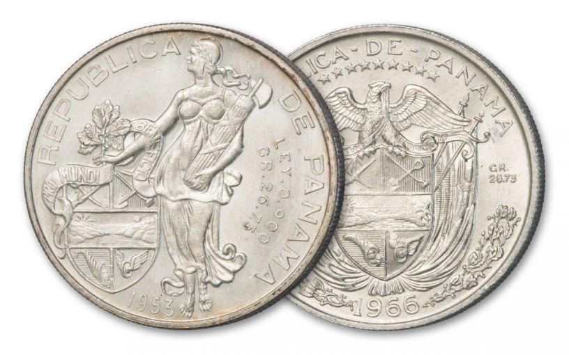 1953 - 1966 Panama Silver 1 Balboa AU/BU 2pc Set