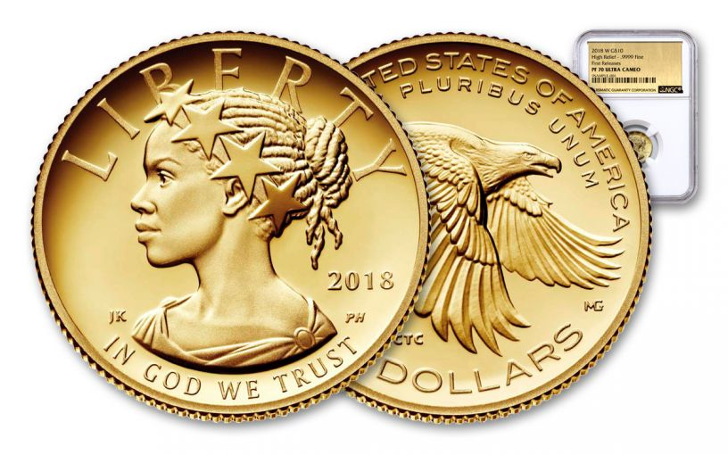2018-W 10 Dollar 1/10-oz Gold Liberty NGC PF70UCAM First Releases Gold Foil Label