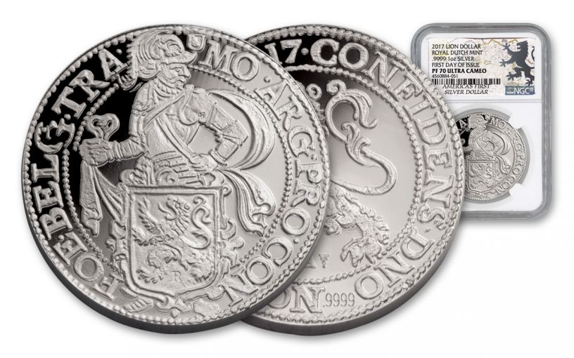 2017 Netherlands 1-oz Silver New York Lion Dollar Restrike NGC PF70UCAM First Day Of Issue