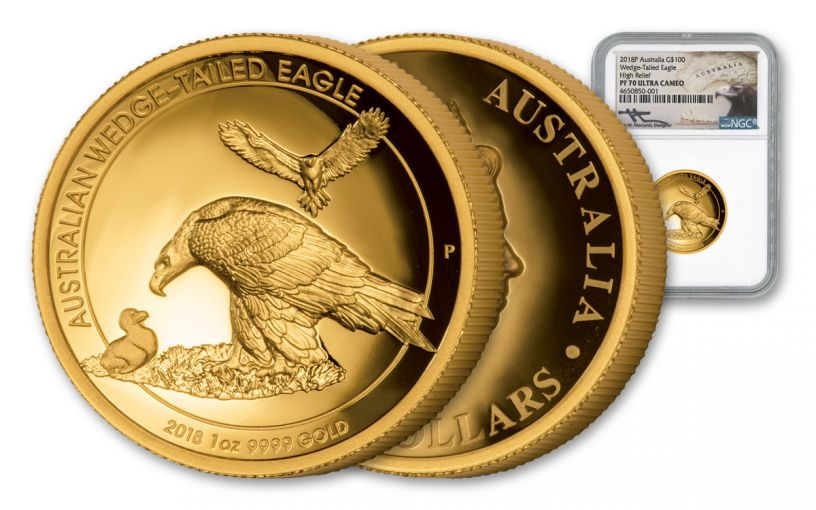 2018 Australia 100 Dollar 1-oz Gold Wedge Tailed Eagle High Relief NGC PF70UCAM Mercanti Signed