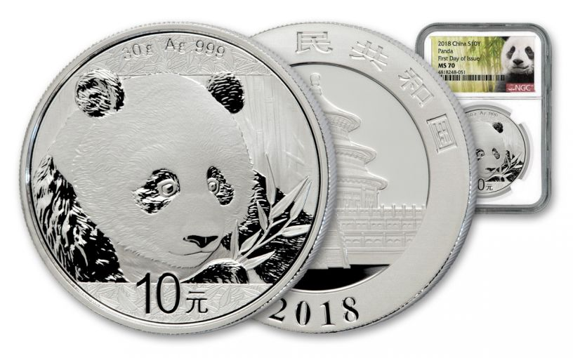 2018 China 30 Gram Silver Panda NGC MS70 First Day of Issue – White Core