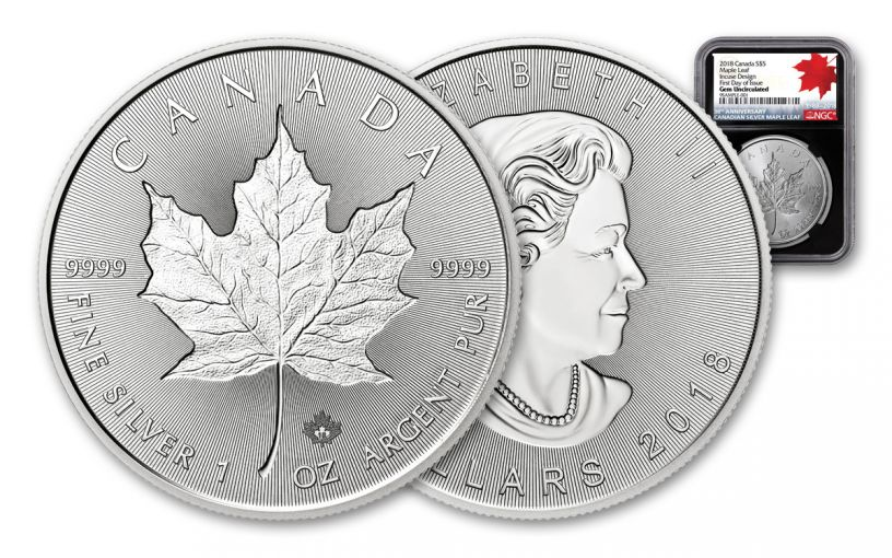 2018 Canada 1-oz $5 Silver Incuse Maple Leaf NGC Gem BU FDI 30th Anniversary Label - Black