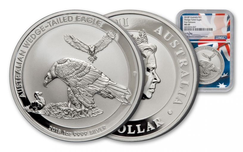 2018 Australia 1-oz Silver Wedge Tailed NGC MS69 First Releases Mercanti Signed Flag Label
