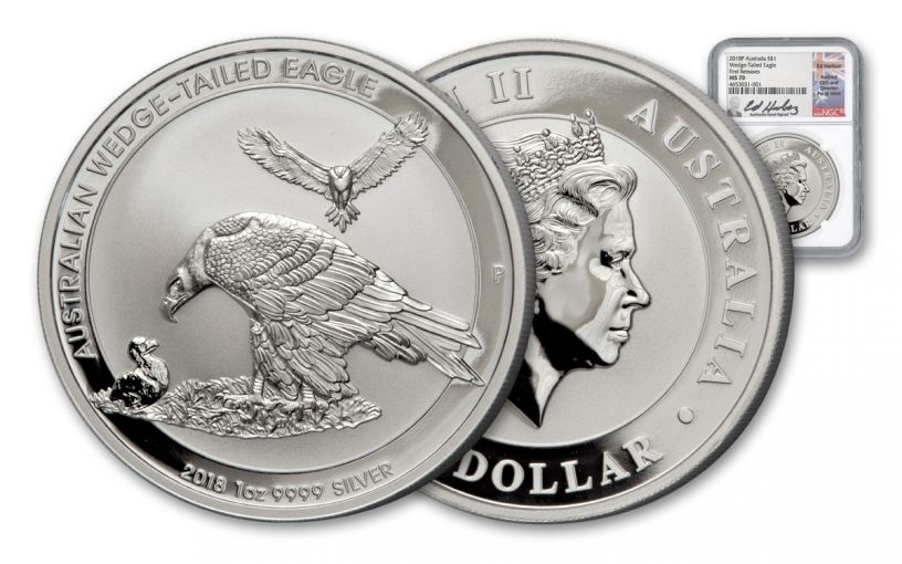 2018 Australia 1-oz Silver Wedge Tailed Eagle NGC MS70 First Releases Harbuz