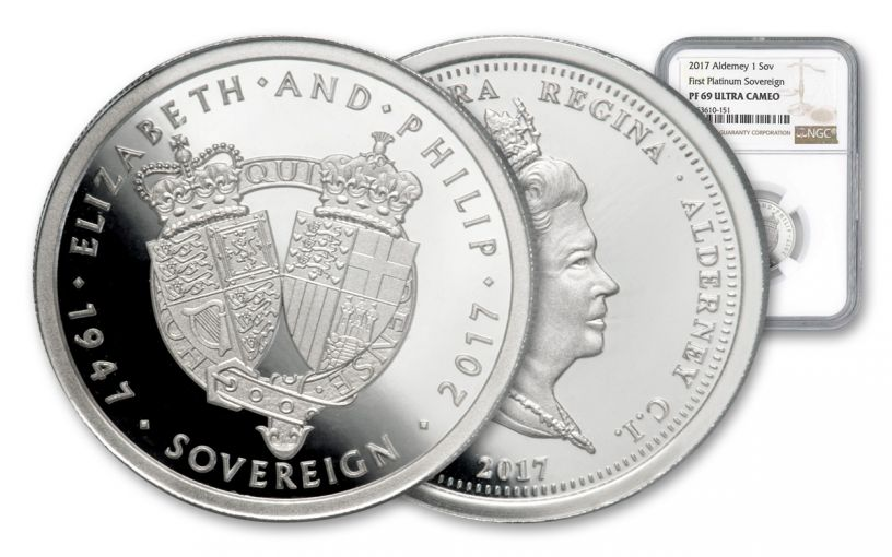 2017 Alderney Platinum Sovereign NGC PF69UC