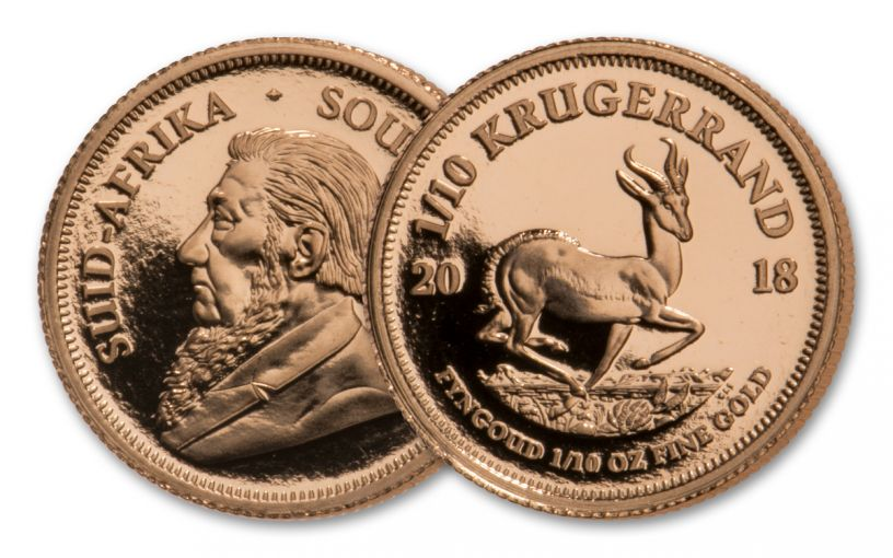 2018 South Africa 1/10 Ounce Gold Krugerrand Proof