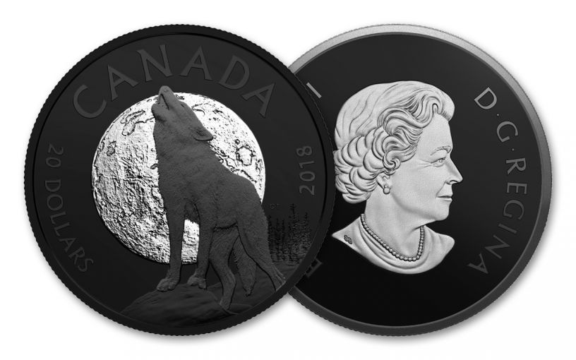 2018 Canada 1-oz Silver Nature Howling Wolf Proof Rhodium Plated