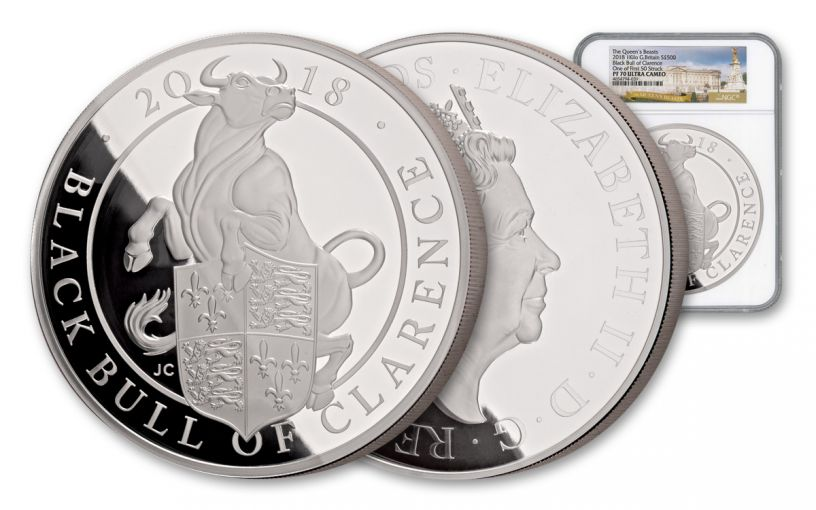 2018 Great Britain Kilo Silver Queen's Beast Black Bull NGC PF70UCAM First Struck