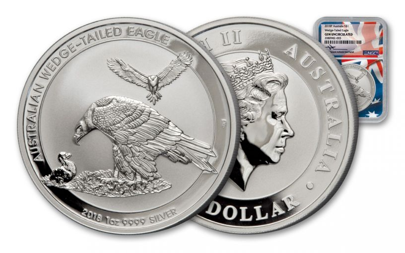 2018 Australia 1 Dollar 1-oz Silver Wedge Tailed Eagle NGC Gem Proof Mercanti Signed