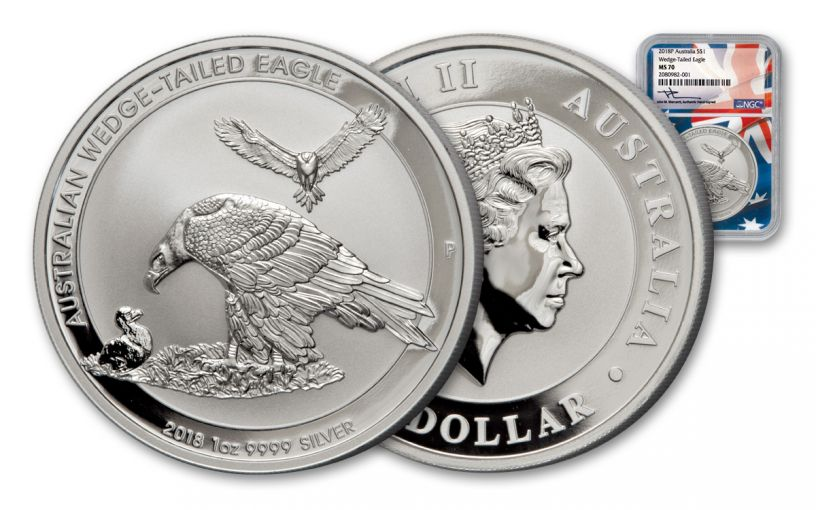2018 Australia 1 Dollar 1-oz Silver Wedge Tailed Eagle NGC MS70 Mercanti Signed