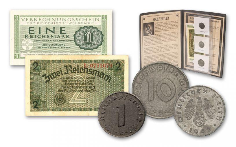World War II Nazi Germany 5-Piece Currency Collection w/ Folder