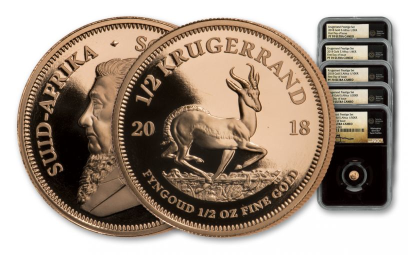 2018 South Africa Gold Krugerrand NGC PF70UCAM FDI Tumi Signed 5pc Set - Black