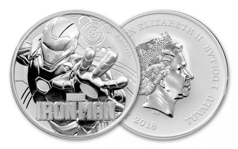 2018 Tuvalu 1 Dollar 1-oz Silver Iron Man Brilliant Uncirculated