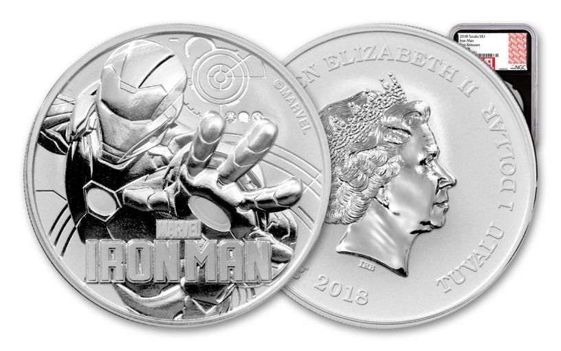 2018 Tuvalu 1 Dollar 1-oz Silver Iron Man NGC MS70 First Releases - Black