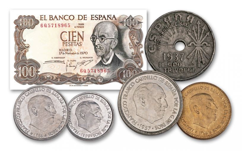 1939-1975 Francisco Franco Spanish Coin/Currency 6 Piece Set With Folder