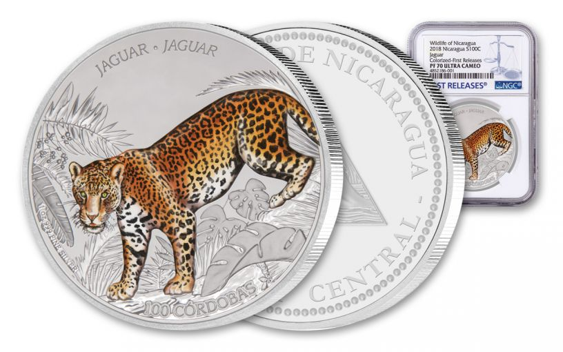2018 Nicaragua 1 Ounce Silver Jaguar Colorized NGC PF70UC First Releases