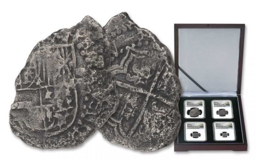 1556-1743 Spain Princess Louisa Shipwreck Silver Reales 4-piece Set NGC Genuine - Salvor's Reserve Hoard