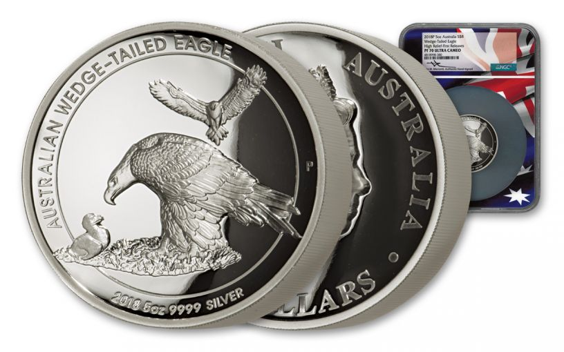 2018 Australia Wedge-Tailed Eagle 5-oz Silver High Relief Proof NGC PF70UC FR Flag Core Mercanti Signed
