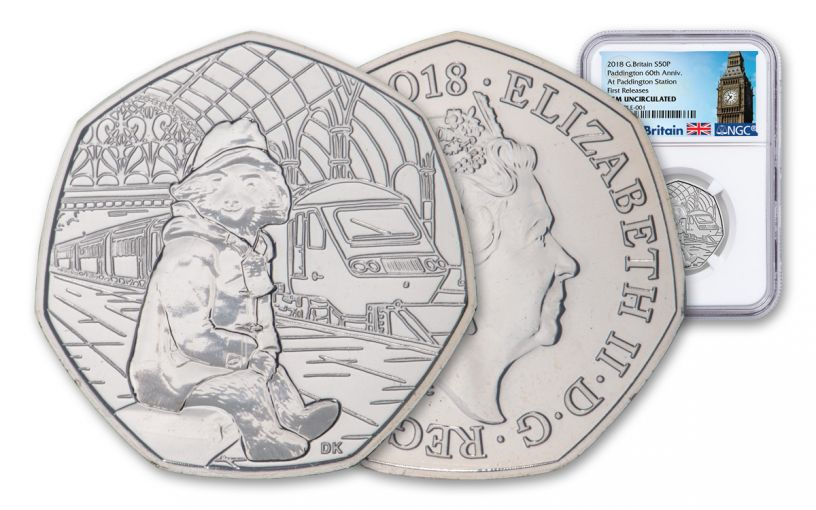 2018 Great Britain 50 Pence 8-Gram Cupro-Nickel Paddington at Paddington Station NGC Gem Unc First Releases