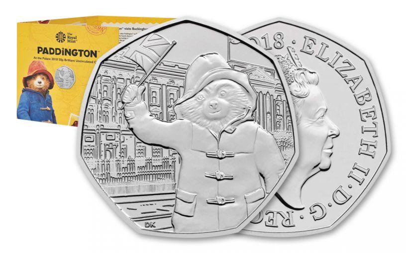 2018 Great Britian 50 Pence 8-Gram Cupro-Nickel Paddington at Buckingham Palace BU