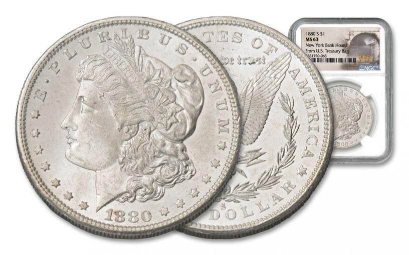 1880-S Morgan Silver Dollar New York Bank Hoard Treasury NGC MS63