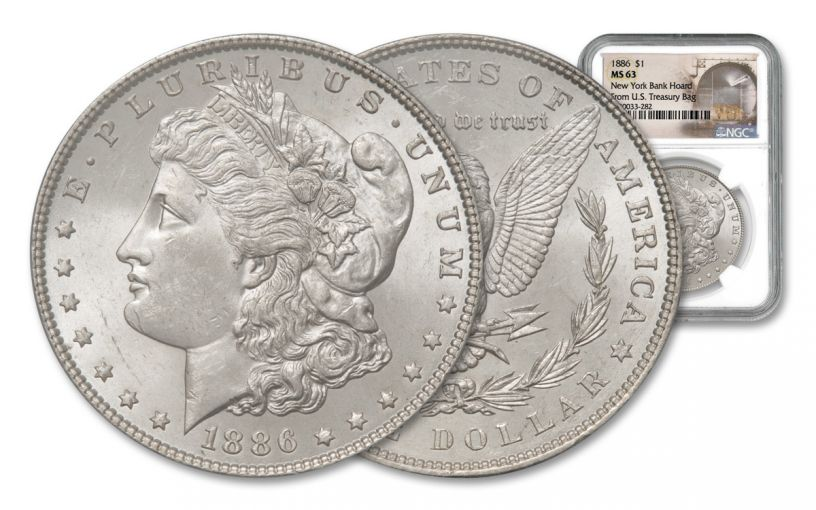 1886-P Morgan Silver Dollar New York Bank Hoard Treasury NGC MS63