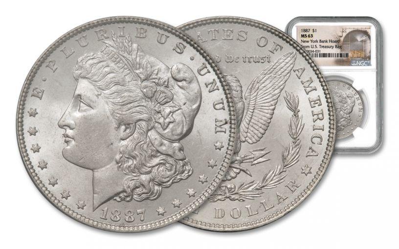 1887-P Morgan Silver Dollar New York Bank Hoard Treasury NGC MS63