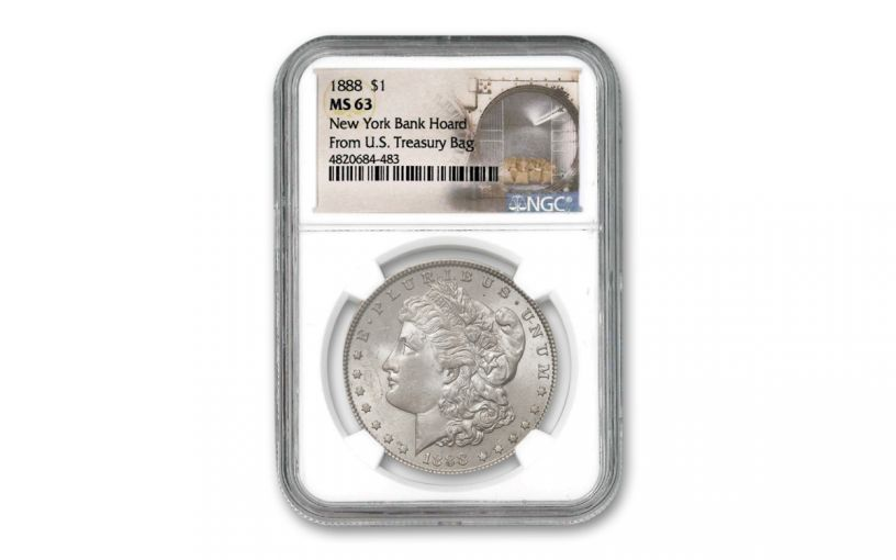 1888-P Morgan Silver Dollar New York Bank Hoard Treasury NGC MS63