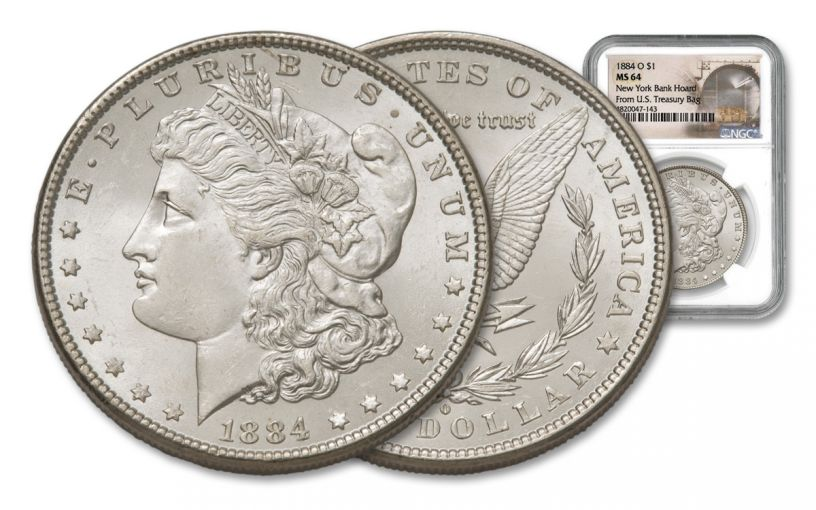 1884-O Morgan Silver Dollar New York Bank Hoard Treasure NGC MS64