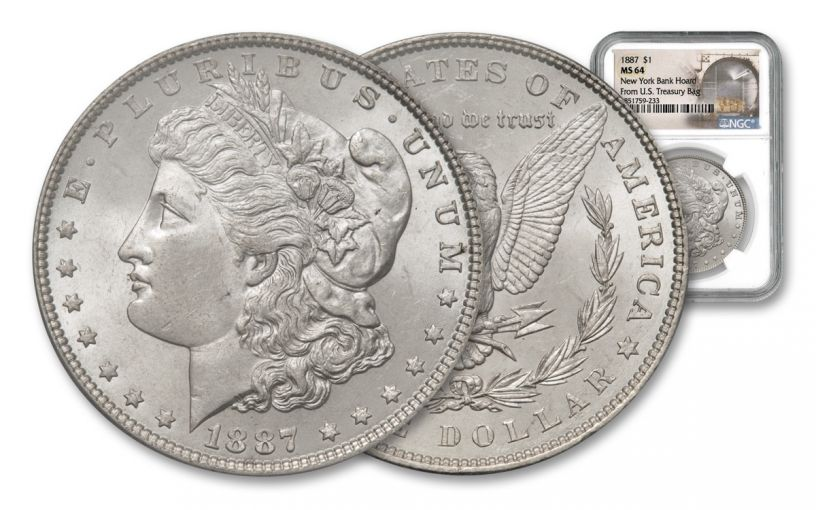 1887-P Morgan Silver Dollar New York Bank Hoard Treasury NGC MS64