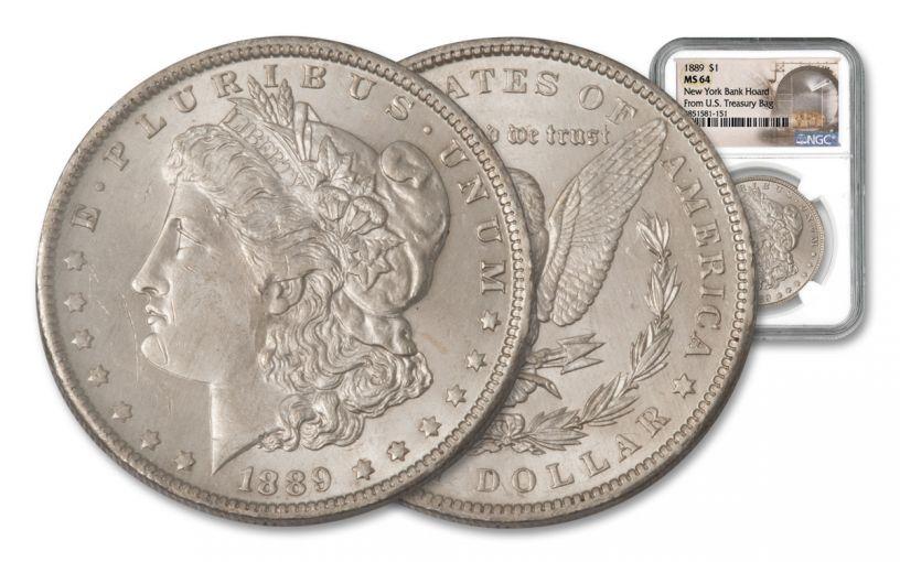 1889-P Morgan Silver Dollar New York Bank Hoard Treasury NGC MS64