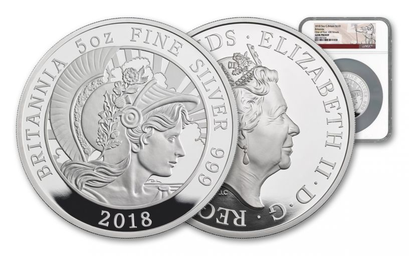 2018 Great Britain £10 5-oz Silver Britannia NGC Gem Proof First Strike