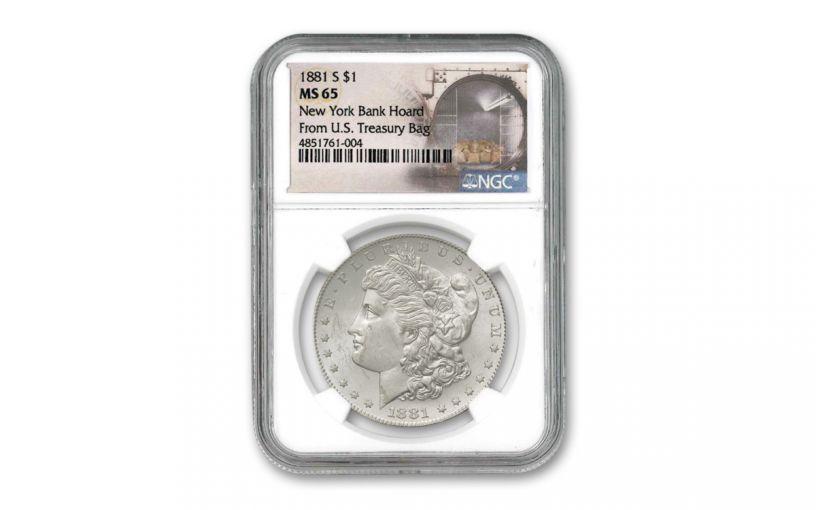 1881-S Morgan Silver Dollar New York Bank Hoard Treasury NGC MS65