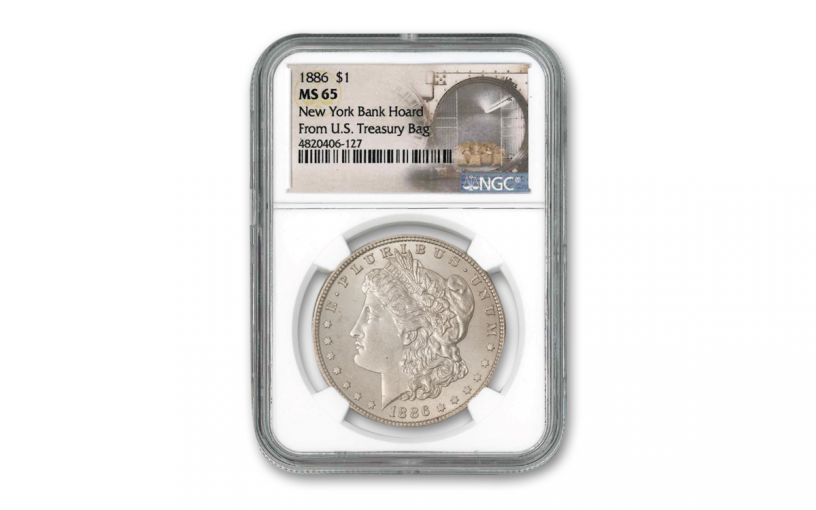 1886-P Morgan Silver Dollar New York Bank Hoard Treasury NGC MS65
