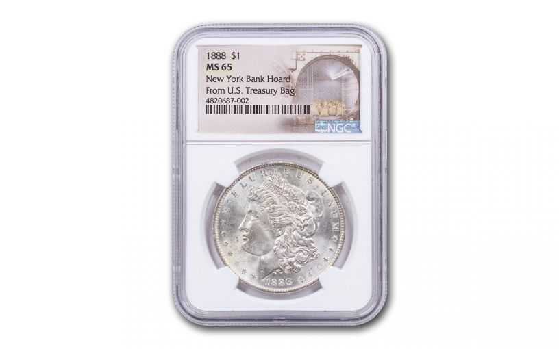1888-P Morgan Silver Dollar New York Bank Hoard Treasury NGC MS65