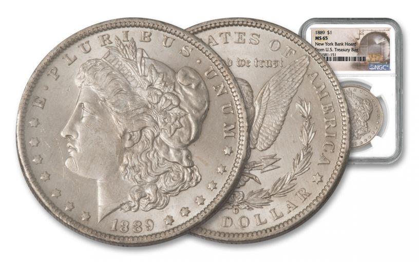 1889-P Morgan Silver Dollar New York Bank Hoard Treasury NGC MS65