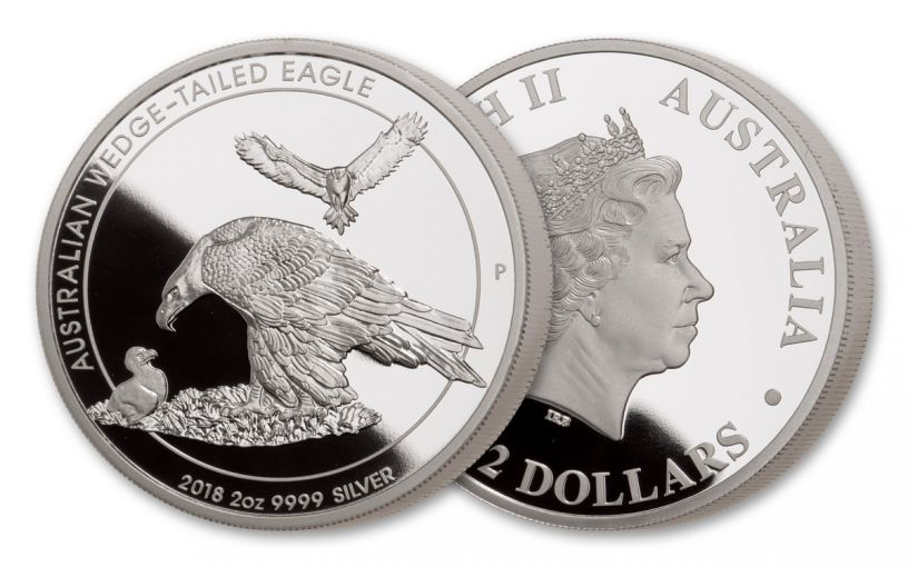 2018 Australia 2-oz $2 Silver Wedge Tailed Eagle Piedfort Proof
