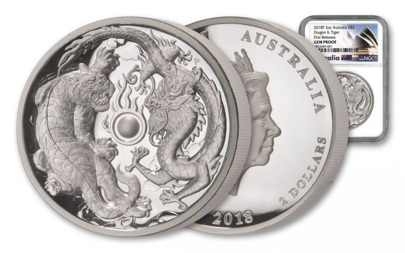 2018 Australia $2 2-oz Silver Tiger & Dragon High Relief NGC Gem Proof First Releases
