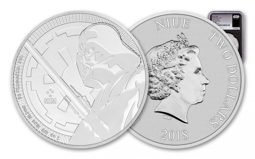 2018 Niue $2 1-oz Silver Star Wars Darth Vader NGC MS70 First Releases - Black Core