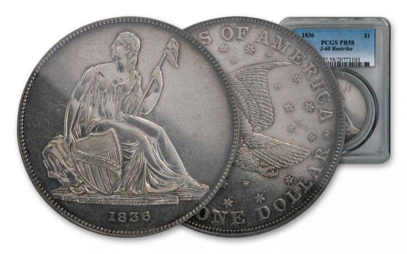 1836 Gobrecht Silver Dollar Seated Liberty Judd-60 Restrike PCGS PF58