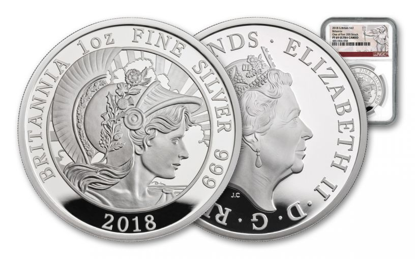 2018 Great Britain One-Ounce Silver Britannia NGC PF69UC First Releases