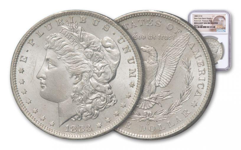 1883-O Morgan Silver Dollar New York Bank Treasury Hoard NGC BU